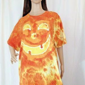 Tie Dye Batik Handmade T-Shirt XL Halloween Face